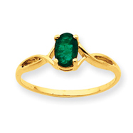 14K Gold Emerald May Ring