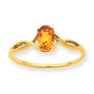 14K Gold Citrine November Ring