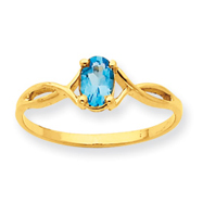 14K Gold Blue Topaz December Ring