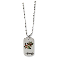 Stainless Steel Ed Hardy Love Eternal Dog Tag Painted 24in Necklace