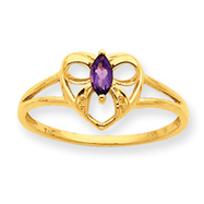 14K Gold Amethyst February Birthstone Ring