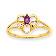 14K Gold Rhodolite Garnet June Birthstone Ring