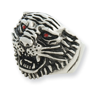 Stainless Steel Ed Hardy Roaring Tiger Wize Red Cubic Zirconia Eyes Ring