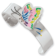 Stainless Steel Ed Hardy Painted Butterfly Cuff Bangle