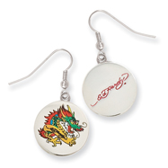 Ed Hardy Painted Dragon Earrings