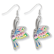 Ed Hardy Painted Butterfly Cubic Zirconia Earrings