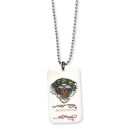 Ed Hardy Tiger 2-piece Painted Dog Tag 24in Necklace