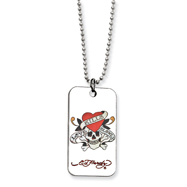 Ed Hardy Skull/Heart Dog Tag Painted 24in Necklace