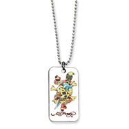 Ed Hardy Skull/Dagger Painted Dog Tag 24in Necklace