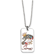 Ed Hardy Panther Painted Dog Tag 24in Necklace