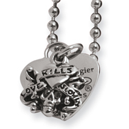Stainless Steel Ed Hardy Skull/Heart Pendant 24in Necklace