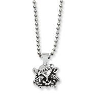 Stainless Steel Ed Hardy Skull/Heart Pendant Necklace