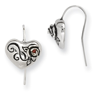 Stainless Steel Ed Hardy Heart With Cubic Zirconia Dangle Earrings