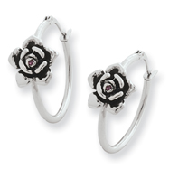 Stainless Steel Ed Hardy Rose With Cubic Zirconia Hoop Earrings