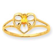 14K Gold Citrine November Birthstone Ring