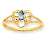 14K Gold Blue Topaz December Birthstone Ring