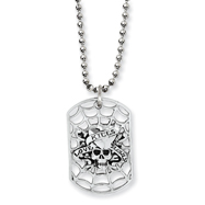 Stainless Steel Ed Hardy Skull/Heart Cut-out Dog Tag 24in Necklace
