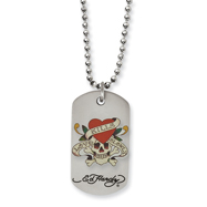 Stainless Steel Ed Hardy Painted Skull/Heart Dog Tag 24in Necklace