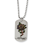 Stainless Steel Ed Hardy Painted Rose Dog Tag 24in Necklace