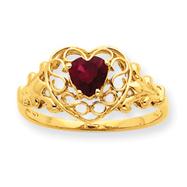 14K Gold Garnet Birthstone Ring