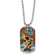 Stainless Steel Ed Hardy Big Ghost Painted Dog Tag 24in Necklace