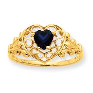 14K Gold Sapphire September Birthstone Ring