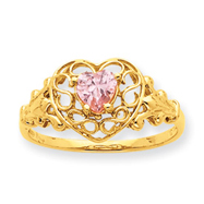 14K Gold Pink Tourmaline October Birthstone Ring