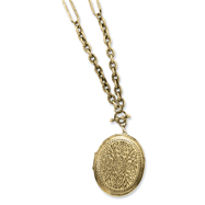 "Brass-tone Oval Locket 30"" Necklace"