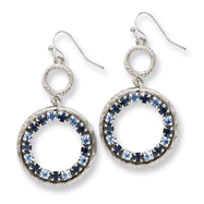 Silver-tone Light/Dark Blue Crystal Circle Drop Earrings