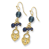 Gold-tone Heart & Lock with Dark Blue Crystals Earrings