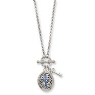 "Silver-tone Dark Blue Crystal Cross Locket 24"" Necklace"