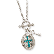 "Silver-tone Teal Crystal Cross Locket 24"" Necklace"