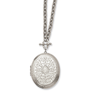 "Silver-tone Oval Locket 30"" Necklace"