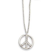 "Silver-tone Crystal Peace Symbol 16"" Necklace"