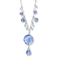 "Silver-tone Light Blue Crystal Drop 16"" Necklace"