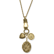 "Brass-tone Locket & Charms 30"" Necklace"