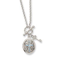 "Silver-tone Blue Crystal Cross Locket 24"" Necklace"