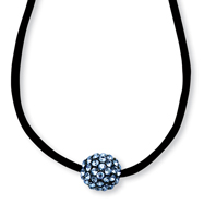 "Black-plated Blue Crystal Fireball On 16"" With Extension Satin Cord Necklace"