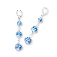 Silver-tone Blue Crystal Bead Linear Drop Earrings