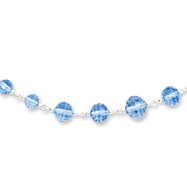 "Silver-tone Blue Crystal Beaded 16"" With Extension Necklace"
