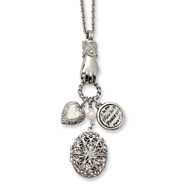 "Silver-tone Locket & Charms 30"" Necklace"