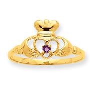 14K Gold Amethyst February Birthstone Ring