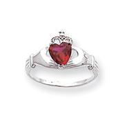 14K White Gold CZ January Birthstone Claddagh Heart Ring