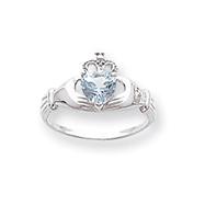 14K White Gold CZ March Birthstone Claddagh Heart Ring
