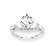 14K White Gold CZ April Birthstone Claddagh Heart Ring