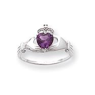14K White Gold CZ June Birthstone Claddagh Heart Ring