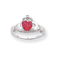 14K White Gold CZ July Birthstone Claddagh Heart Ring