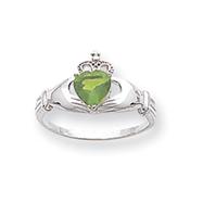 14K White Gold CZ August Birthstone Claddagh Heart Ring
