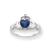 14K White Gold CZ September Birthstone Claddagh Heart Ring