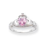 14K White Gold CZ October Birthstone Claddagh Heart Ring